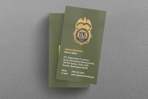Federal law enforcement business cards kraken design dea business card in od green colourmoves