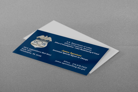 Dept of Labor Business Card in Blue