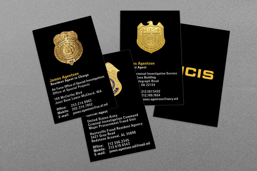 army cid, air force osi, ncis military law enforcement business cards