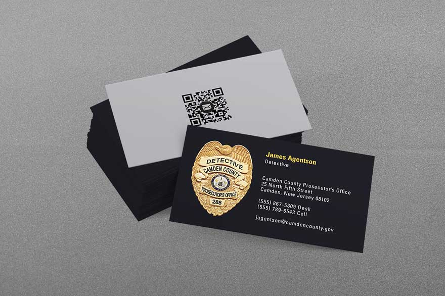 State municipal police business cards kraken design for Police business card templates