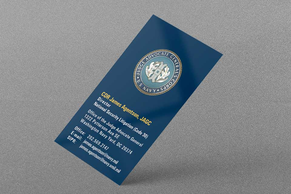 US Navy JAG Business Card