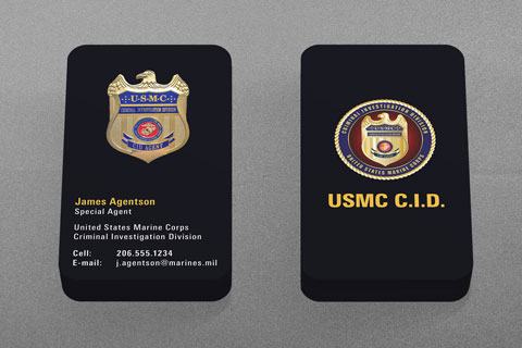 Military law enforcement business cards kraken design for Marine corps business cards