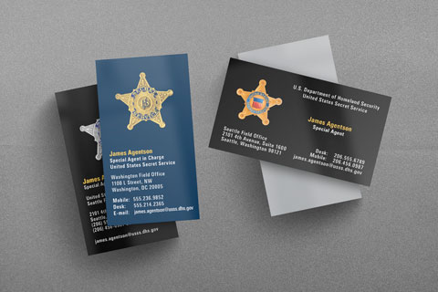 Federal law enforcement business cards kraken design usss business cards united states secret service reheart Gallery